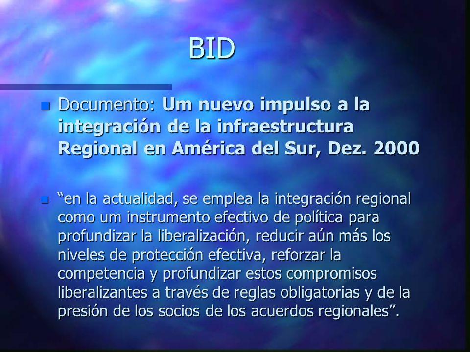 BID n Documento: Um nuevo impulso a la integración de la infraestructura Regional en América del Sur, Dez. 2000 n en la actualidad, se emplea la integ