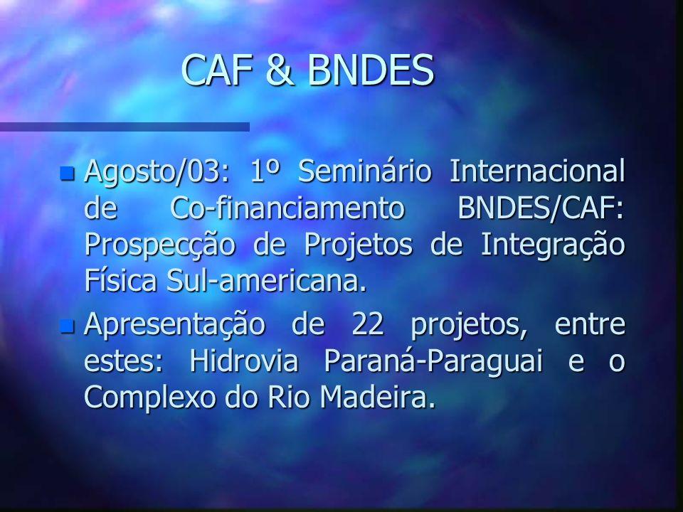 CAF & BNDES n Agosto/03: 1º Seminário Internacional de Co-financiamento BNDES/CAF: Prospecção de Projetos de Integração Física Sul-americana. n Aprese