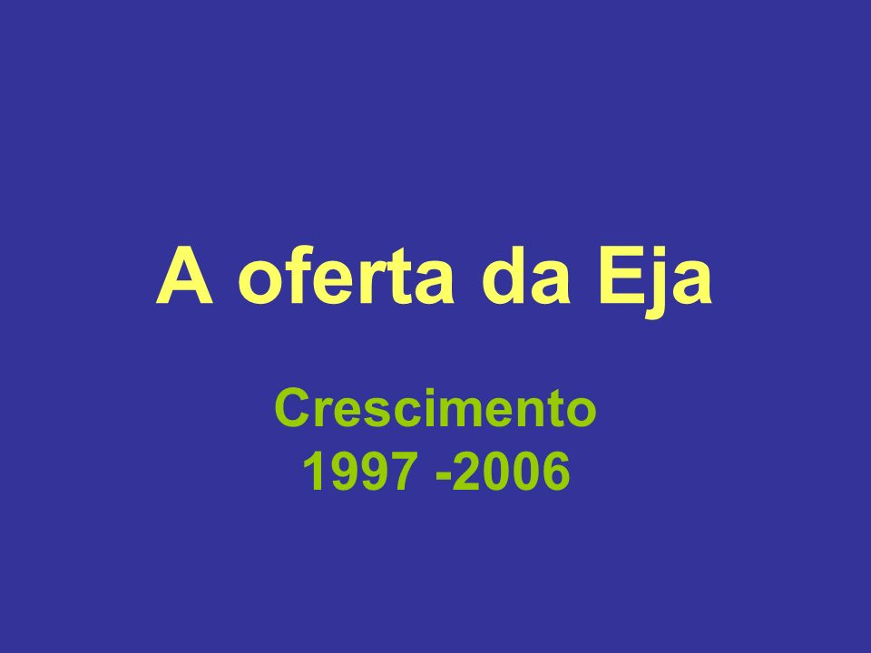 Fonte: Inep Censo Escolar Matrículas de 1ª a 4ª série: de 899,0 mil para 1,4 milhões = crescimento de 65%