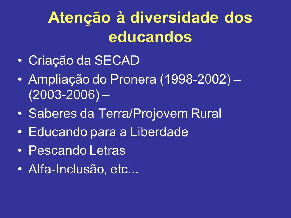 Atenção à diversidade dos educandos Criação da SECAD Ampliação do Pronera (1998-2002) – (2003-2006) – Saberes da Terra/Projovem Rural Educando para a