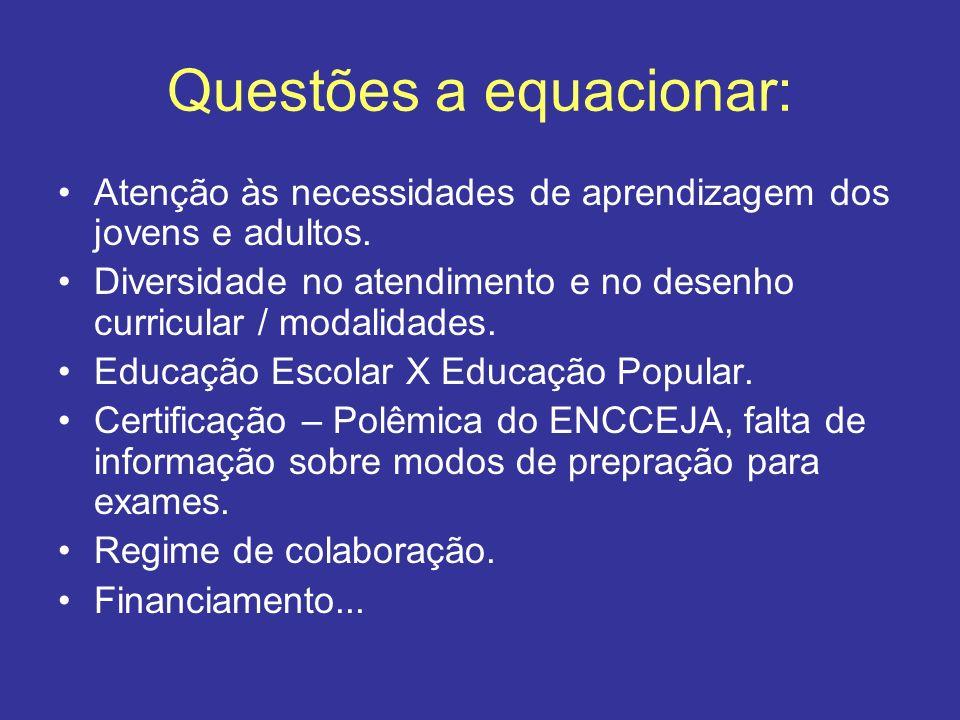 Questões a equacionar: Atenção às necessidades de aprendizagem dos jovens e adultos. Diversidade no atendimento e no desenho curricular / modalidades.