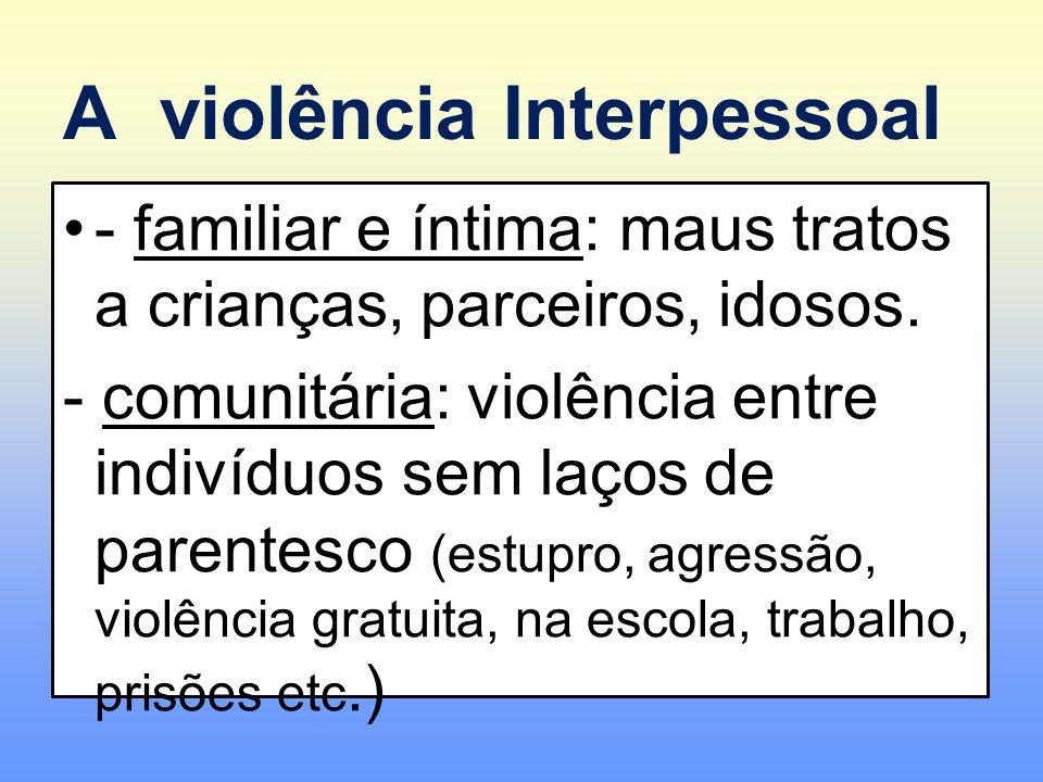 A violência Interpessoal - familiar e íntima: maus tratos a crianças, parceiros, idosos. - comunitária: violência entre indivíduos sem laços de parent