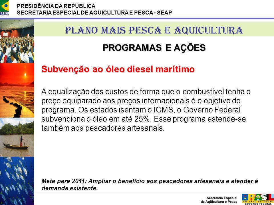 PRESIDÊNCIA DA REPÚBLICA SECRETARIA ESPECIAL DE AQÜICULTURA E PESCA - SEAP PLANO MAIS PESCA E AQUICULTURA PROGRAMAS E AÇÕES Subvenção ao óleo diesel m