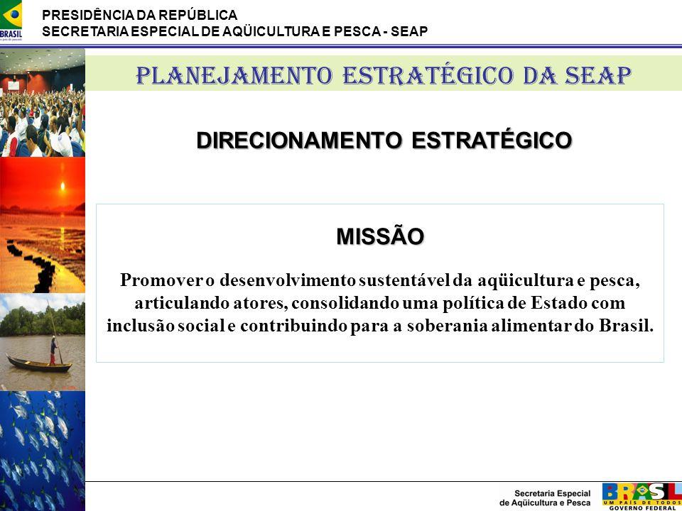 PRESIDÊNCIA DA REPÚBLICA SECRETARIA ESPECIAL DE AQÜICULTURA E PESCA - SEAP PLANEJAMENTO ESTRATÉGICO DA SEAP DIRECIONAMENTO ESTRATÉGICO MISSÃO Promover