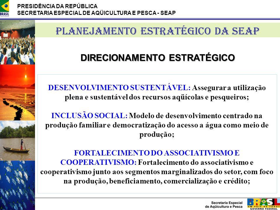 PRESIDÊNCIA DA REPÚBLICA SECRETARIA ESPECIAL DE AQÜICULTURA E PESCA - SEAP DESENVOLVIMENTO SUSTENTÁVEL: Assegurar a utilização plena e sustentável dos