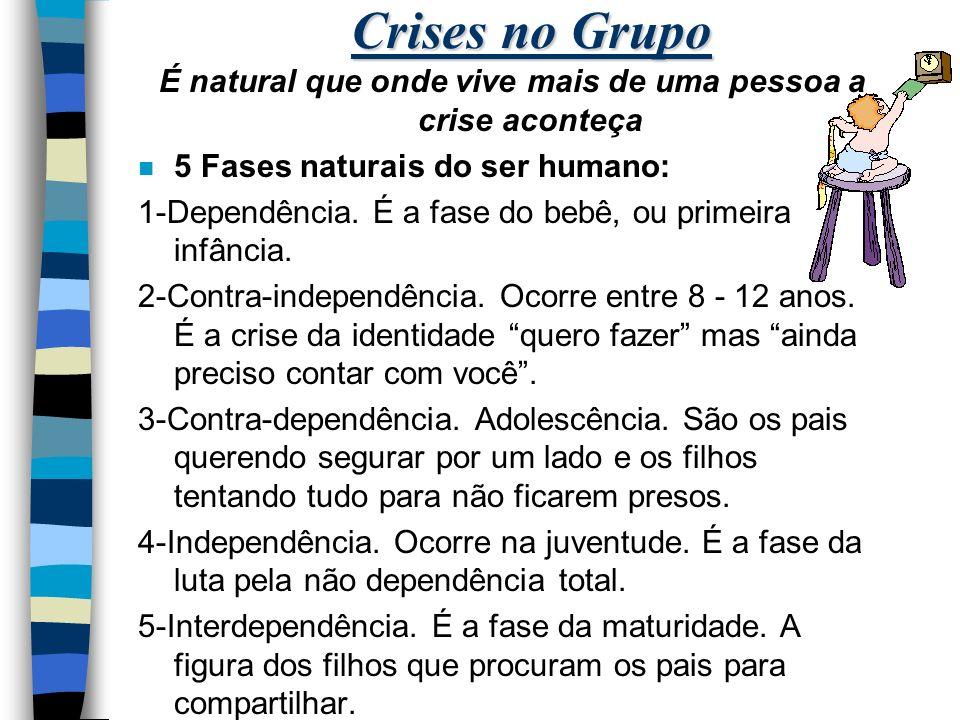Crises no Grupo É natural que onde vive mais de uma pessoa a crise aconteça n 5 Fases naturais do ser humano: 1-Dependência.