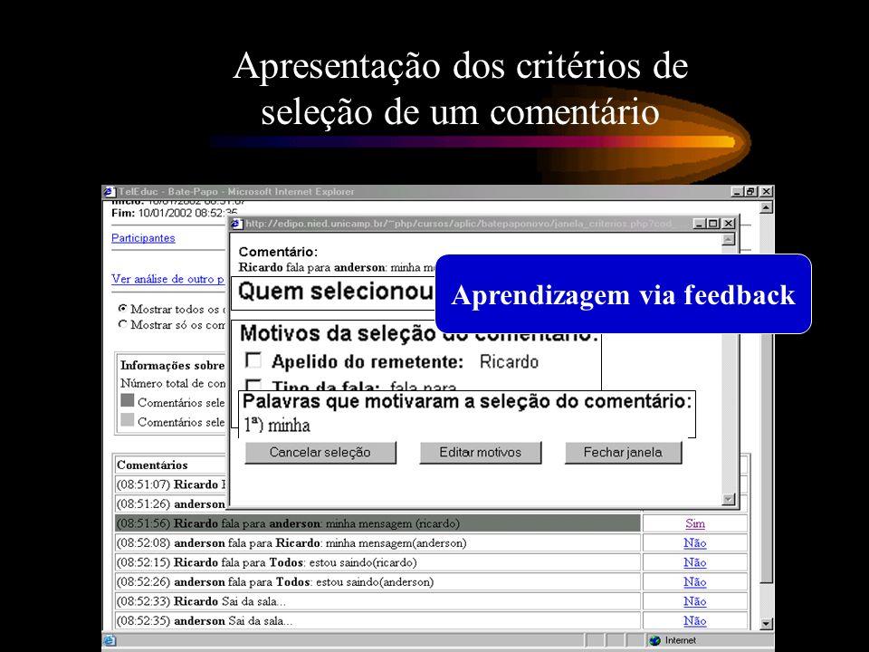 Apresentação dos critérios de seleção de um comentário Aprendizagem via feedback
