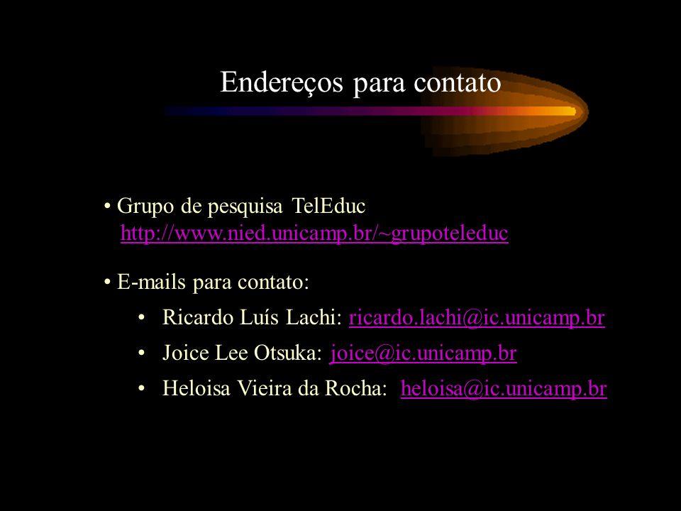 Endereços para contato Grupo de pesquisa TelEduc http://www.nied.unicamp.br/~grupoteleduchttp://www.nied.unicamp.br/~grupoteleduc E-mails para contato