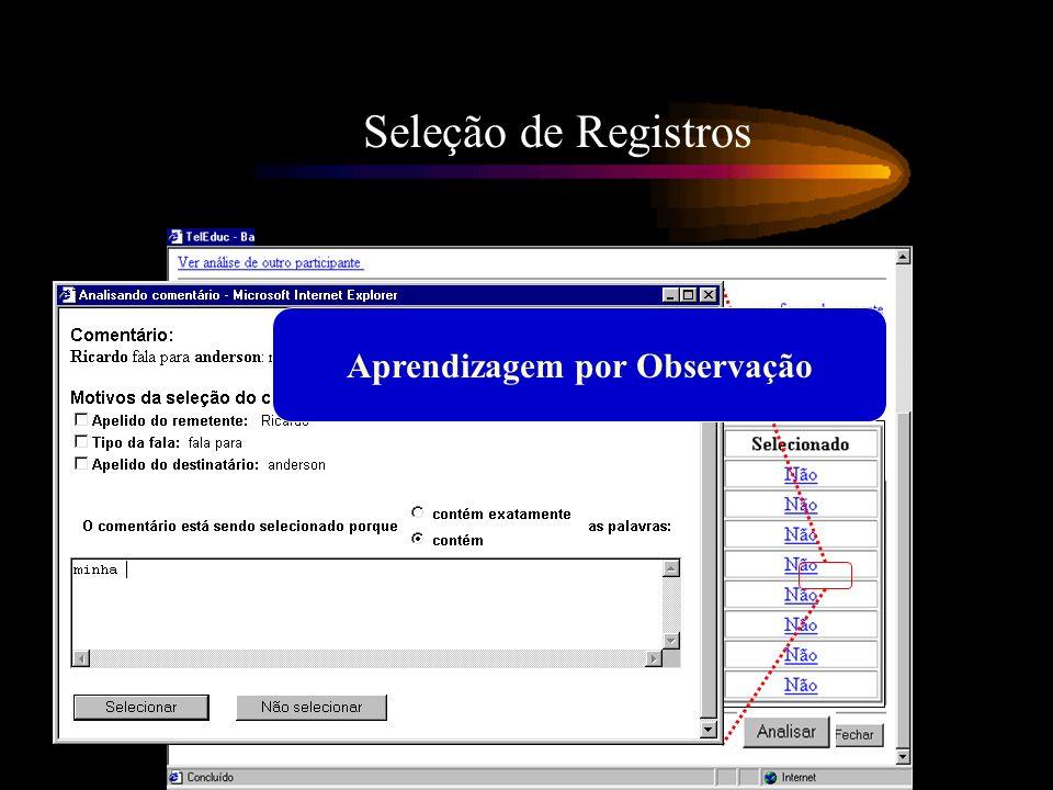 Seleção de Registros Aprendizagem por Observação