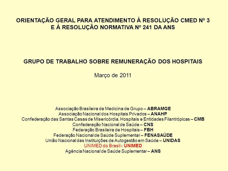ORIENTAÇÃO GERAL PARA ATENDIMENTO À RESOLUÇÃO CMED Nº 3 E À RESOLUÇÃO NORMATIVA Nº 241 DA ANS GRUPO DE TRABALHO SOBRE REMUNERAÇÃO DOS HOSPITAIS Março