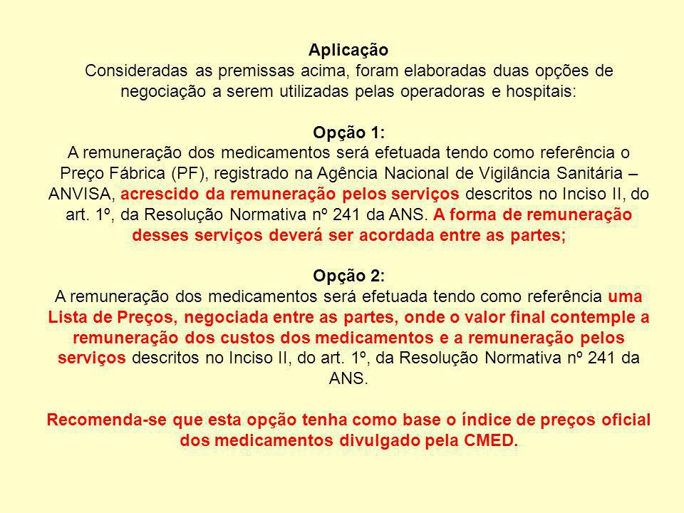 Aplicação Consideradas as premissas acima, foram elaboradas duas opções de negociação a serem utilizadas pelas operadoras e hospitais: Opção 1: A remu