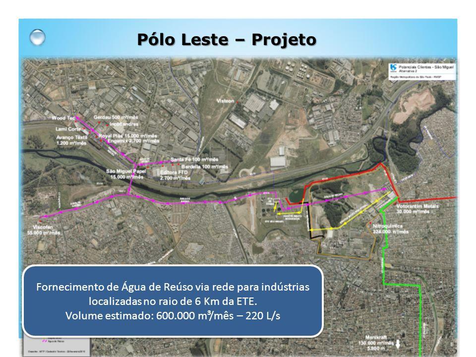 Fornecimento de Água de Reúso via rede para indústrias localizadas no raio de 6 Km da ETE. Volume estimado: 600.000 m³/mês – 220 L/s Fornecimento de Á
