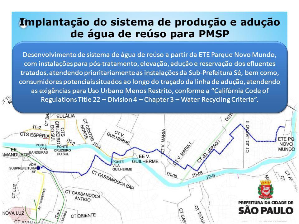 Desenvolvimento de sistema de água de reúso a partir da ETE Parque Novo Mundo, com instalações para pós-tratamento, elevação, adução e reservação dos