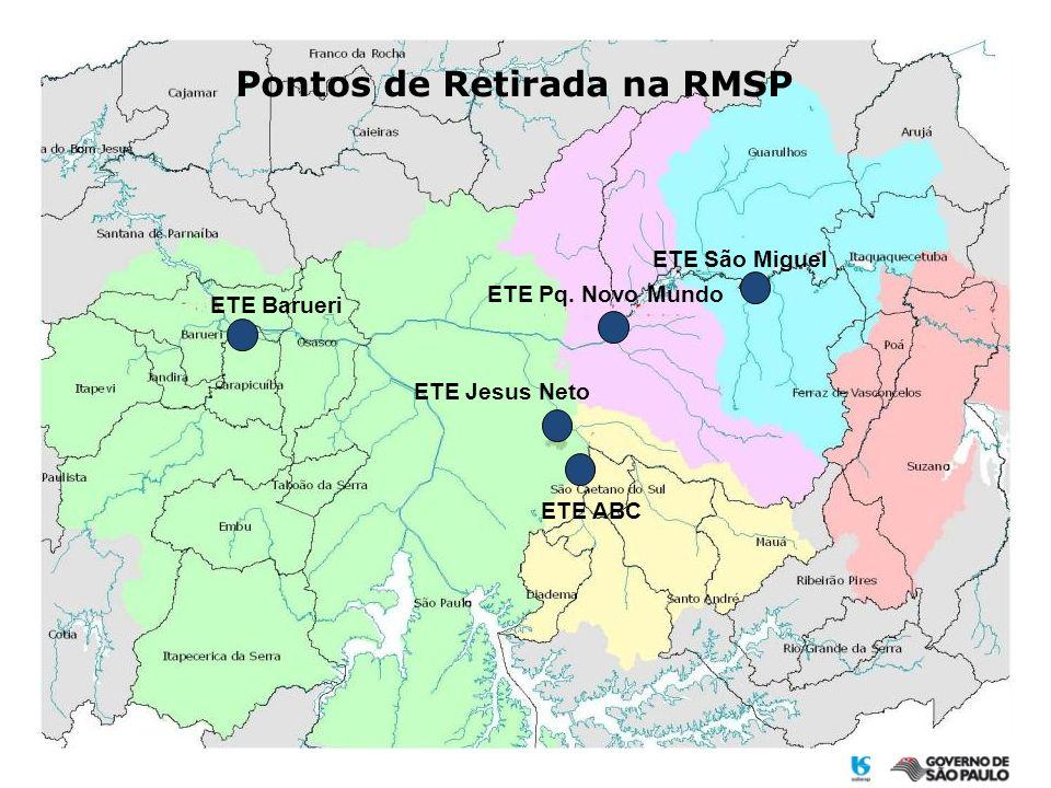 Pontos de Retirada na RMSP ETE ABC ETE Jesus Neto ETE Barueri ETE São Miguel ETE Pq. Novo Mundo