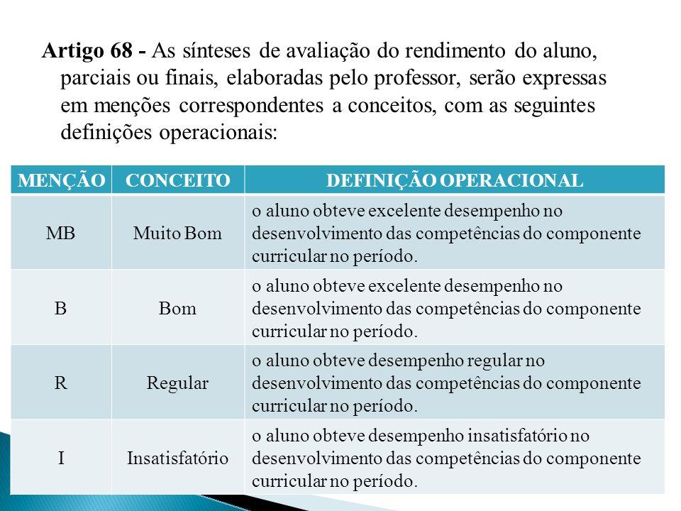Artigo 68 - As sínteses de avaliação do rendimento do aluno, parciais ou finais, elaboradas pelo professor, serão expressas em menções correspondentes