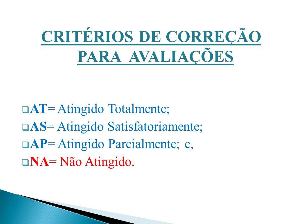 CRITÉRIOS DE CORREÇÃO PARA AVALIAÇÕES AT= Atingido Totalmente; AS= Atingido Satisfatoriamente; AP= Atingido Parcialmente; e, NA= Não Atingido.