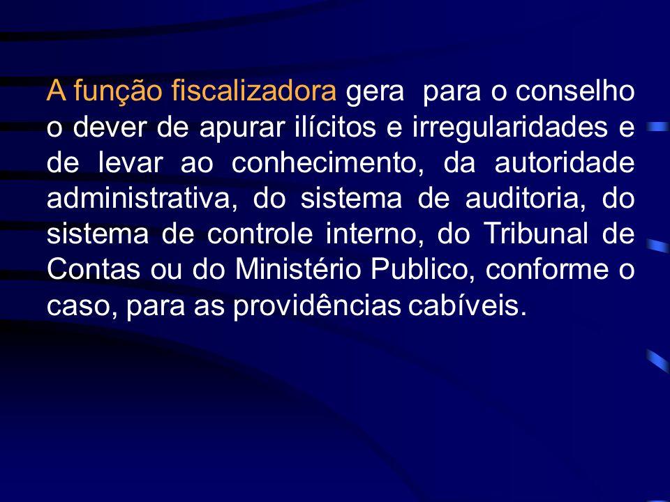 A função fiscalizadora gera para o conselho o dever de apurar ilícitos e irregularidades e de levar ao conhecimento, da autoridade administrativa, do