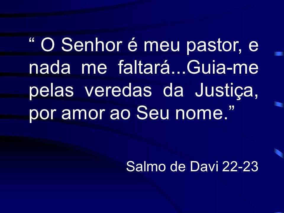 O Senhor é meu pastor, e nada me faltará...Guia-me pelas veredas da Justiça, por amor ao Seu nome. Salmo de Davi 22-23