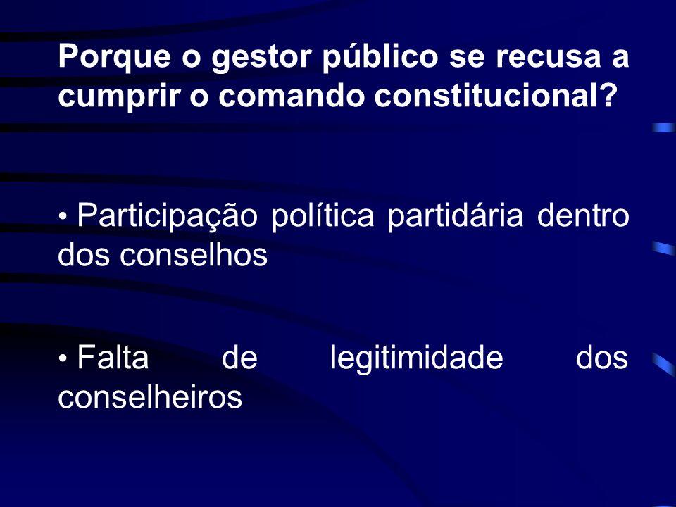 Porque o gestor público se recusa a cumprir o comando constitucional? Participação política partidária dentro dos conselhos Falta de legitimidade dos