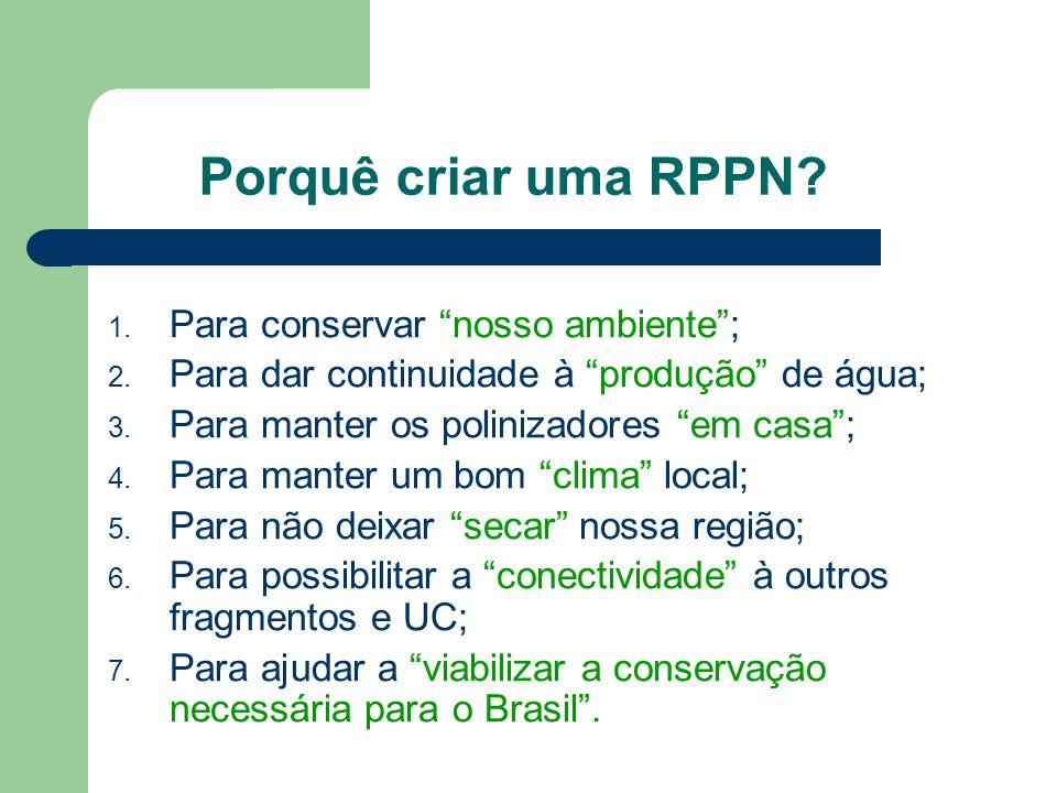 Porquê criar uma RPPN? 1. Para conservar nosso ambiente; 2. Para dar continuidade à produção de água; 3. Para manter os polinizadores em casa; 4. Para