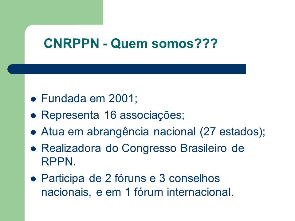 CNRPPN - Quem somos??? Fundada em 2001; Representa 16 associações; Atua em abrangência nacional (27 estados); Realizadora do Congresso Brasileiro de R