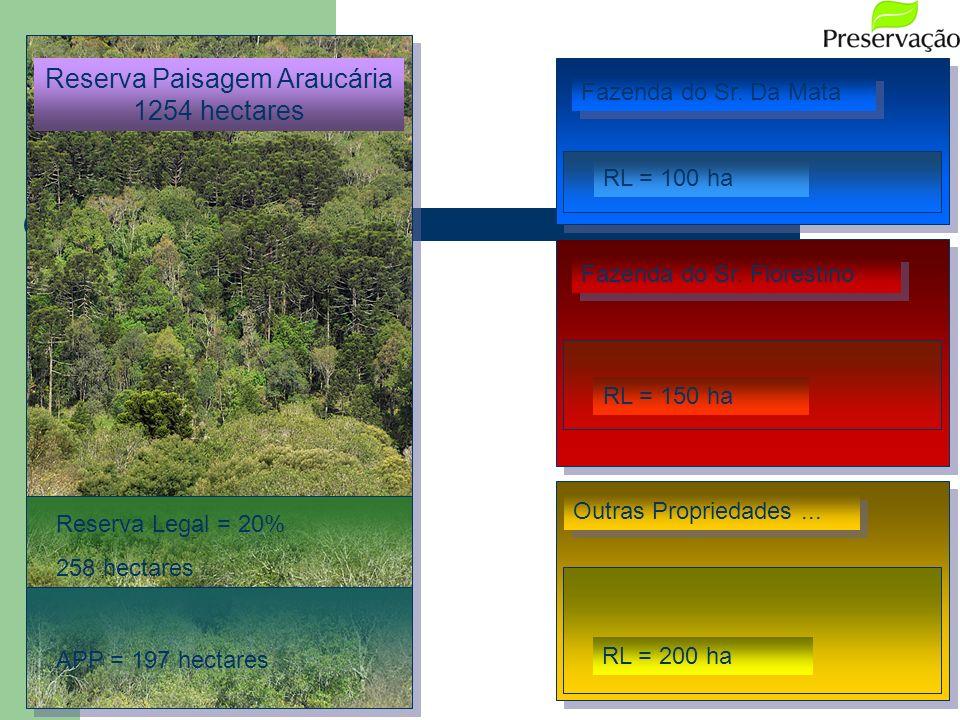 Fazenda do Sr. Florestino Fazenda do Sr. Da Mata Reserva Paisagem Araucária 1254 hectares APP = 197 hectares Reserva Legal = 20% 258 hectares RL = 100