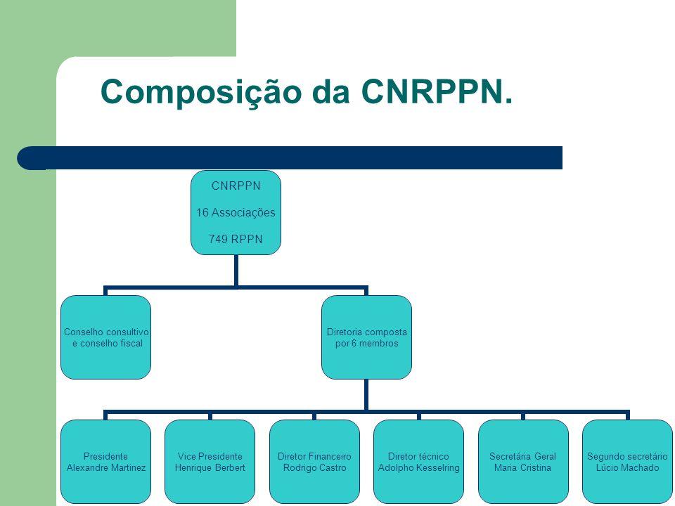 Composição da CNRPPN. CNRPPN 16 Associações 749 RPPN Conselho consultivo e conselho fiscal Diretoria composta por 6 membros Presidente Alexandre Marti