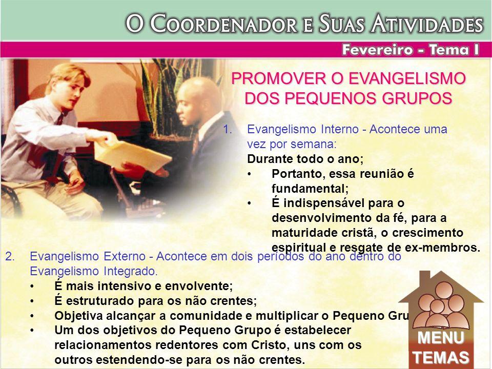 2.Evangelismo Externo - Acontece em dois períodos do ano dentro do Evangelismo Integrado. É mais intensivo e envolvente; É estruturado para os não cre