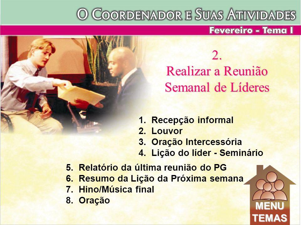 5. Relatório da última reunião do PG 6. Resumo da Lição da Próxima semana 7. Hino/Música final 8. Oração 2. Realizar a Reunião Semanal de Líderes 1. R
