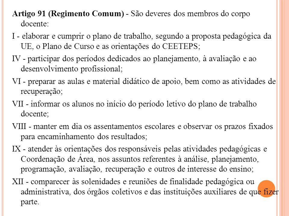 Artigo 91 (Regimento Comum) - São deveres dos membros do corpo docente: I - elaborar e cumprir o plano de trabalho, segundo a proposta pedagógica da U