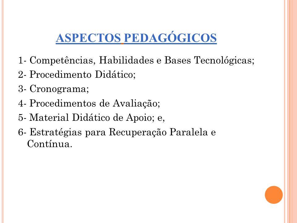ASPECTOS PEDAGÓGICOS 1- Competências, Habilidades e Bases Tecnológicas; 2- Procedimento Didático; 3- Cronograma; 4- Procedimentos de Avaliação; 5- Mat