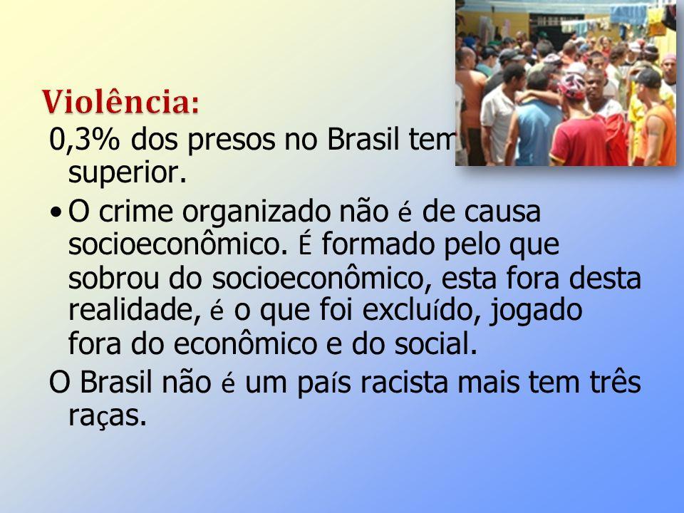 0,3% dos presos no Brasil tem o ensino superior. O crime organizado não é de causa socioeconômico. É formado pelo que sobrou do socioeconômico, esta f