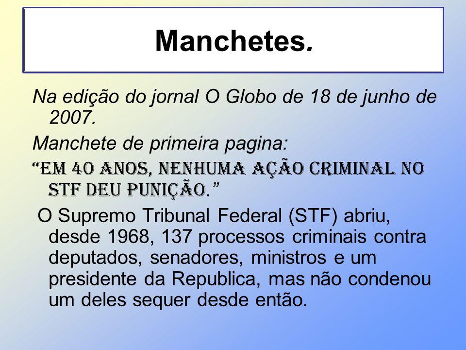 Na edição do jornal O Globo de 18 de junho de 2007. Manchete de primeira pagina: Em 40 anos, nenhuma ação criminal no STF deu punição. O Supremo Tribu