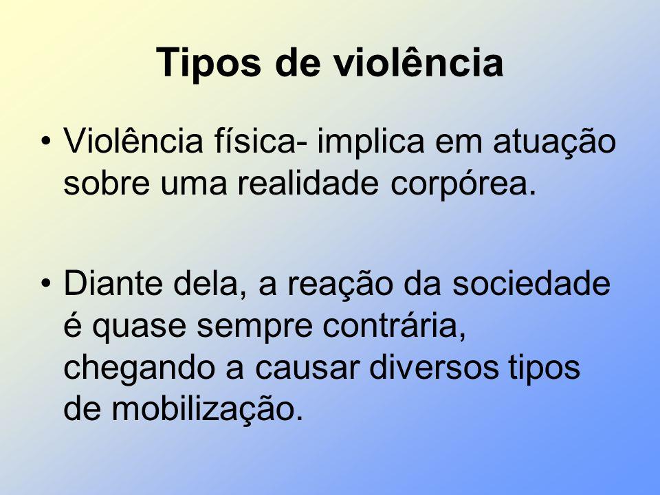 Tipos de violência Violência física- implica em atuação sobre uma realidade corpórea. Diante dela, a reação da sociedade é quase sempre contrária, che