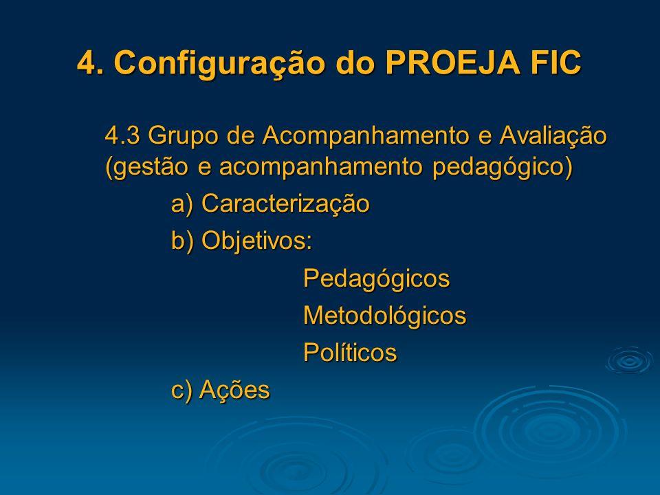 4. Configuração do PROEJA FIC 4.3 Grupo de Acompanhamento e Avaliação (gestão e acompanhamento pedagógico) a) Caracterização b) Objetivos: Pedagógicos