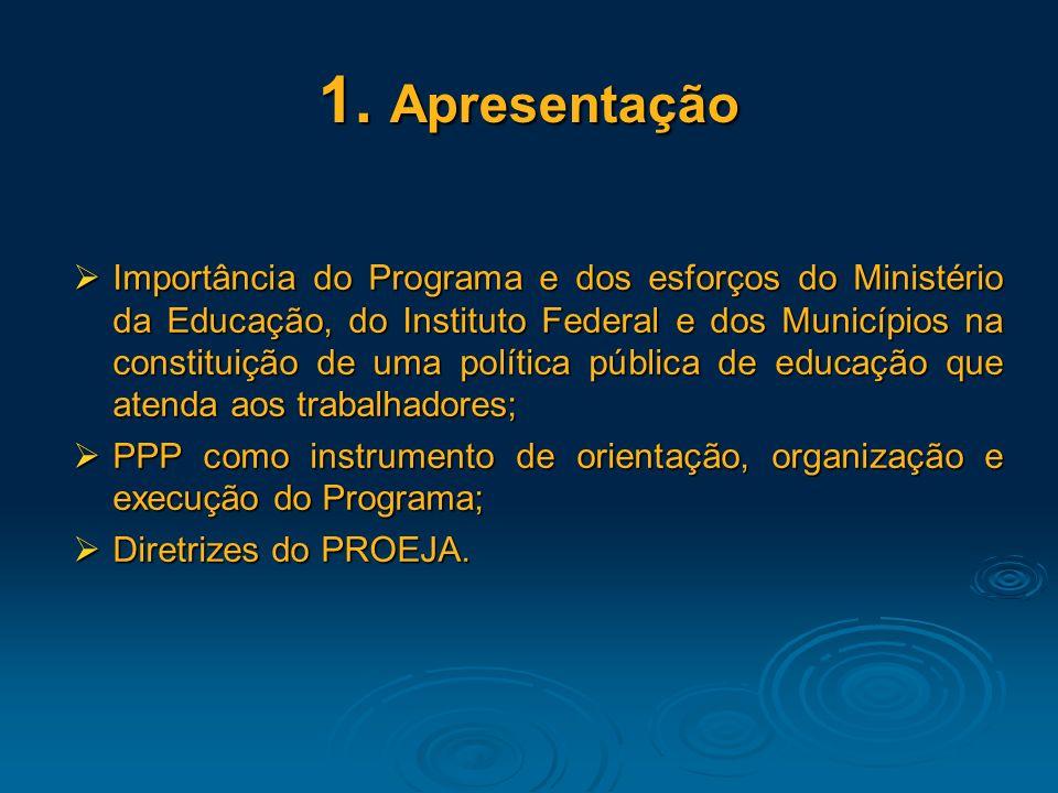 1. Apresentação Importância do Programa e dos esforços do Ministério da Educação, do Instituto Federal e dos Municípios na constituição de uma polític