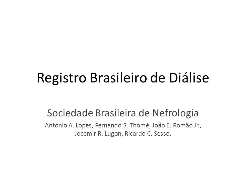 Registro Brasileiro de Diálise Sociedade Brasileira de Nefrologia Antonio A. Lopes, Fernando S. Thomé, João E. Romão Jr., Jocemir R. Lugon, Ricardo C.