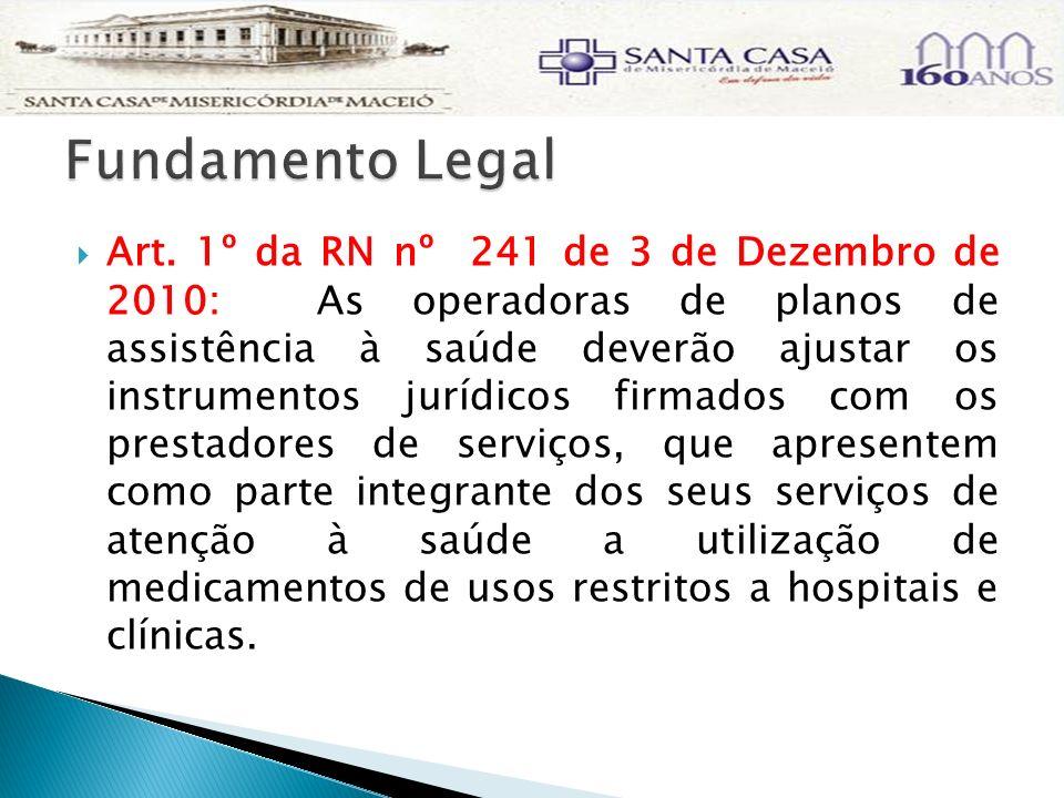 Art. 1º da RN nº 241 de 3 de Dezembro de 2010: As operadoras de planos de assistência à saúde deverão ajustar os instrumentos jurídicos firmados com o