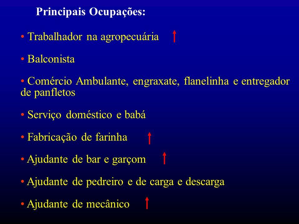 Principais Ocupações: Trabalhador na agropecuária Balconista Comércio Ambulante, engraxate, flanelinha e entregador de panfletos Serviço doméstico e b