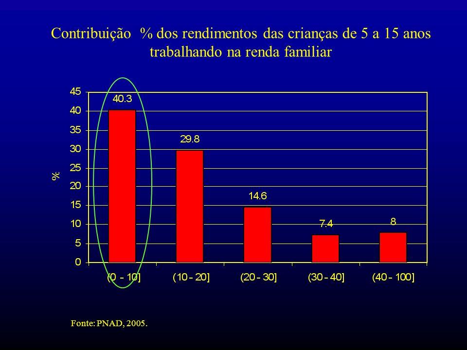 Contribuição % dos rendimentos das crianças de 5 a 15 anos trabalhando na renda familiar Fonte: PNAD, 2005.