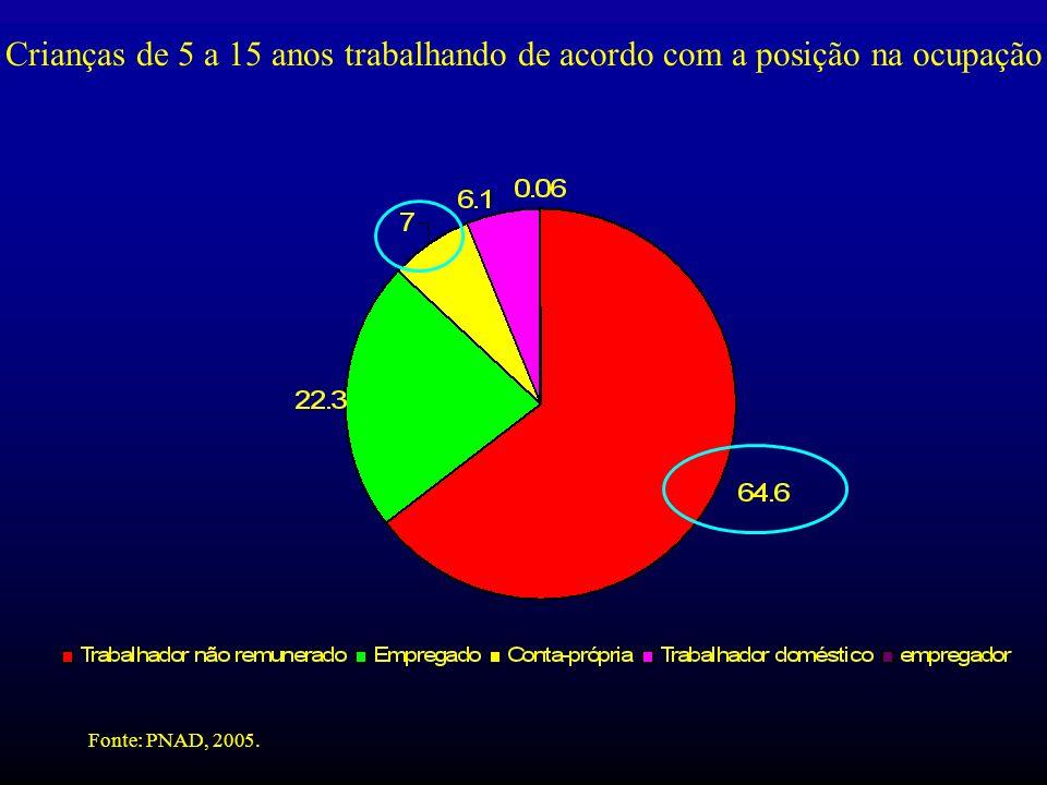Crianças de 5 a 15 anos trabalhando de acordo com a posição na ocupação Fonte: PNAD, 2005.