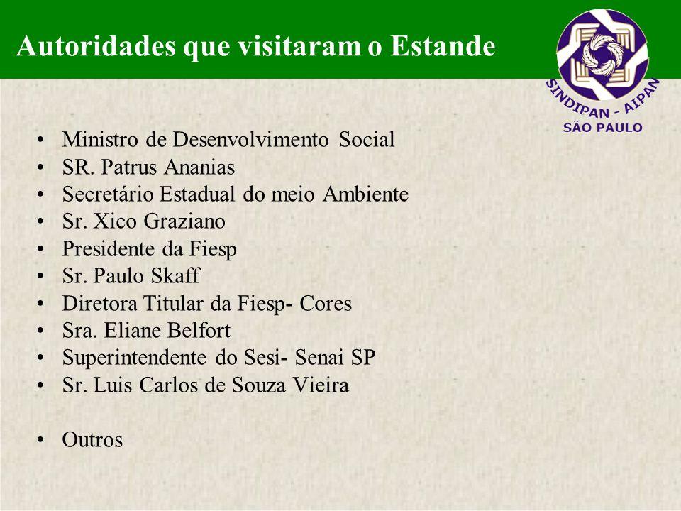 Autoridades que visitaram o estande Ministro de Desenvolvimento Social SR. Patrus Ananias Secretário Estadual do meio Ambiente Sr. Xico Graziano Presi