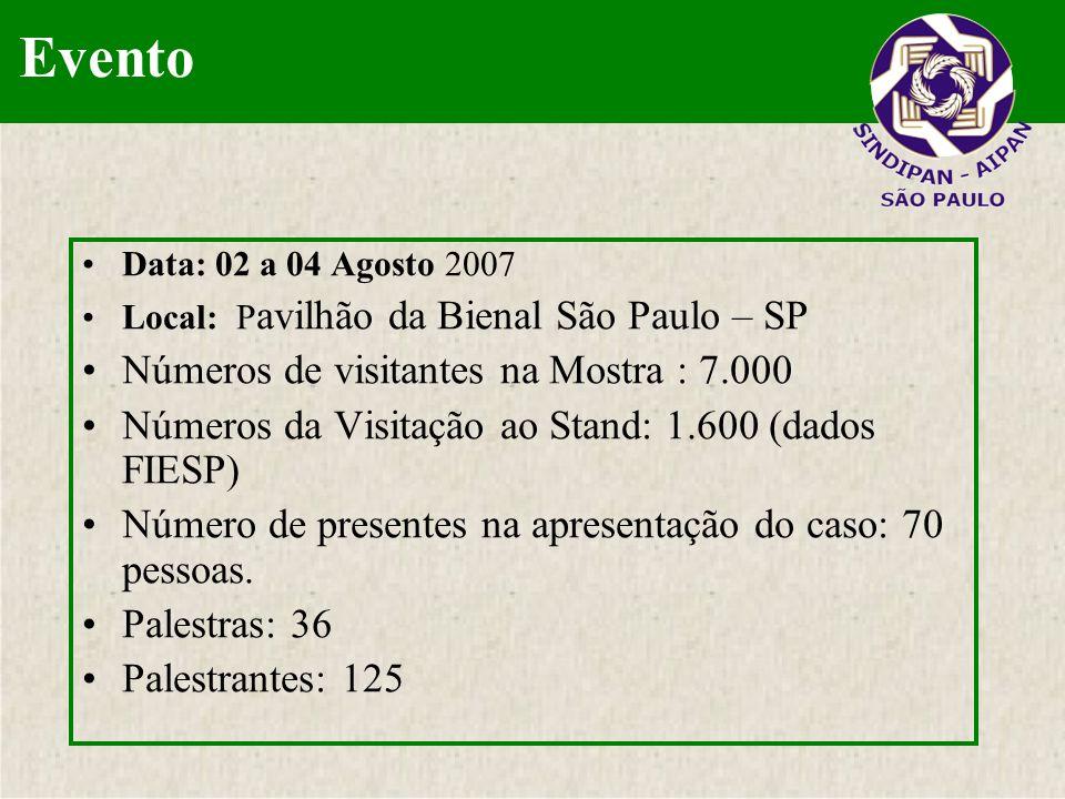 Data: 02 a 04 Agosto 2007 Local: P avilhão da Bienal São Paulo – SP Números de visitantes na Mostra : 7.000 Números da Visitação ao Stand: 1.600 (dado
