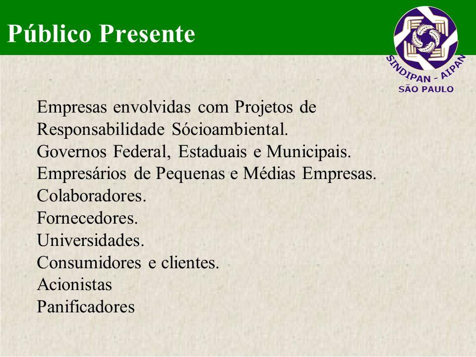 Público Presente Empresas envolvidas com Projetos de Responsabilidade Sócioambiental. Governos Federal, Estaduais e Municipais. Empresários de Pequena