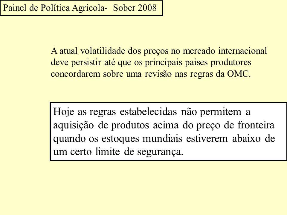 Painel de Política Agrícola- Sober 2008 A atual volatilidade dos preços no mercado internacional deve persistir até que os principais paises produtores concordarem sobre uma revisão nas regras da OMC.