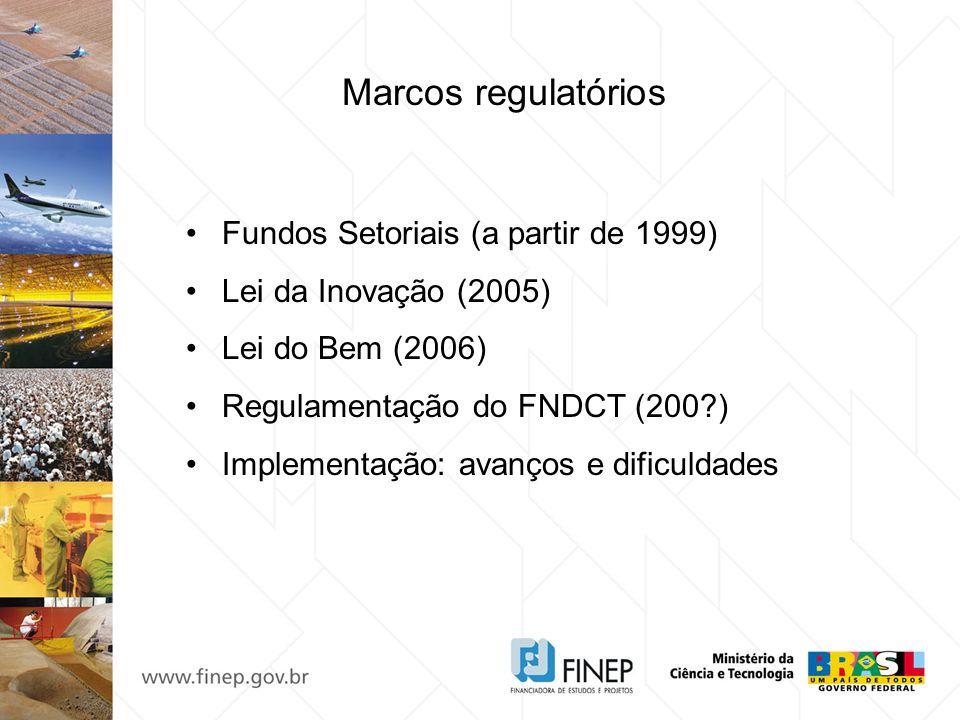 Marcos regulatórios Fundos Setoriais (a partir de 1999) Lei da Inovação (2005) Lei do Bem (2006) Regulamentação do FNDCT (200?) Implementação: avanços
