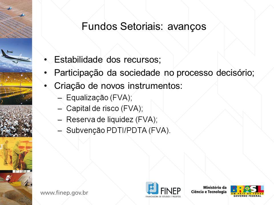 Fundos Setoriais: avanços Estabilidade dos recursos; Participação da sociedade no processo decisório; Criação de novos instrumentos: –Equalização (FVA