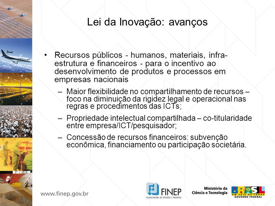 Lei da Inovação: avanços Subvenção econômica –Origem dos recursos: definição do orçamento anual do FNDCT/Fundos Setoriais e de percentual exclusivo para MPEs (MCT, MDIC e Minifaz); –Aplicação desvinculada de seus respectivos setores.
