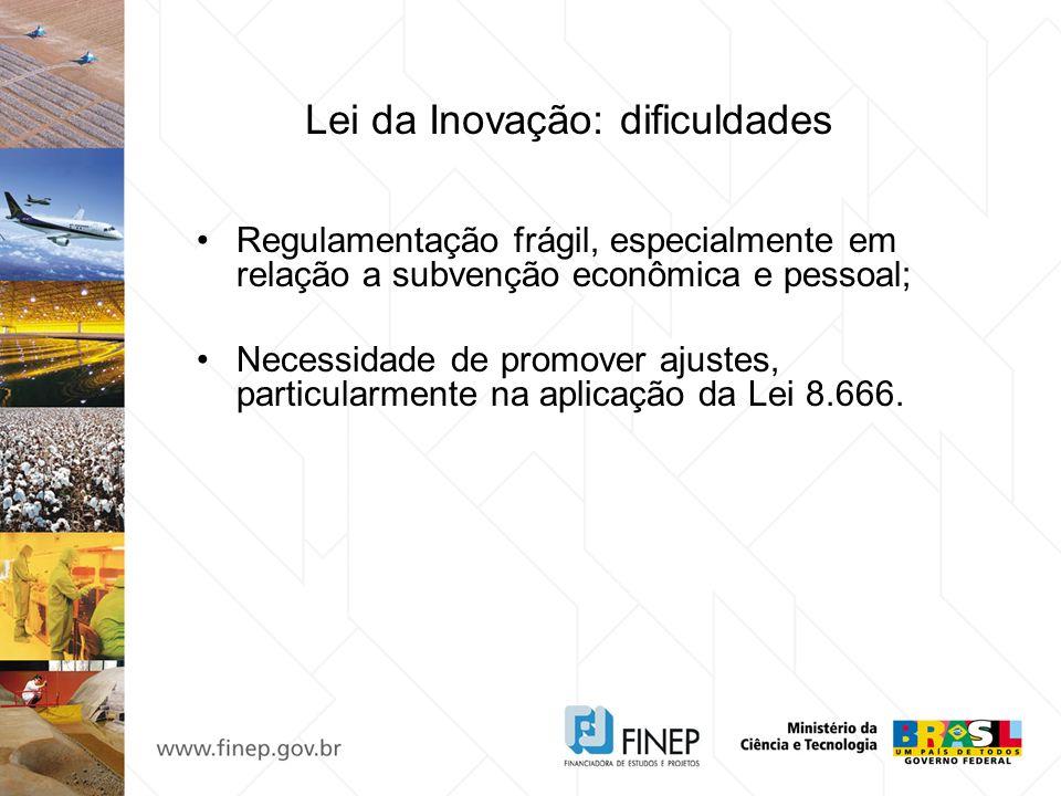 Lei da Inovação: dificuldades Regulamentação frágil, especialmente em relação a subvenção econômica e pessoal; Necessidade de promover ajustes, partic