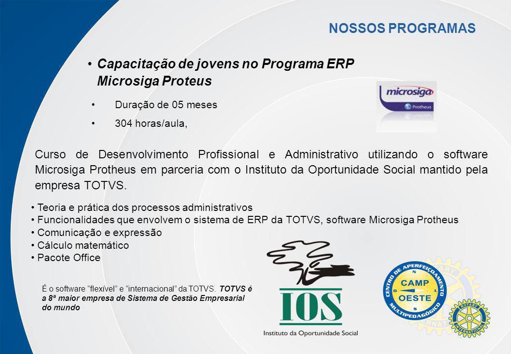Curso de Desenvolvimento Profissional e Administrativo utilizando o software Microsiga Protheus em parceria com o Instituto da Oportunidade Social man